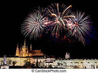 Fireworks over Prague Castle
