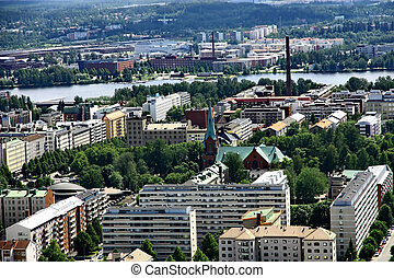 View to town of Tampere, Finland - Aerial view to town of...