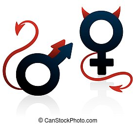 Bad Girl Bad Guy Devil Symbol - Bad girl and bad guy figured...
