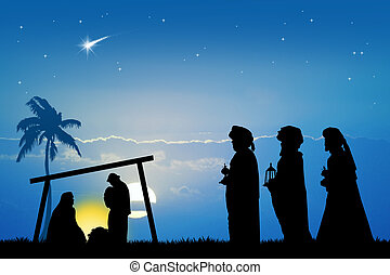 three wise men - Christmas Nativity scene