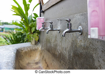 faucet and washbasin in outdoor area - faucet , washbasin,...