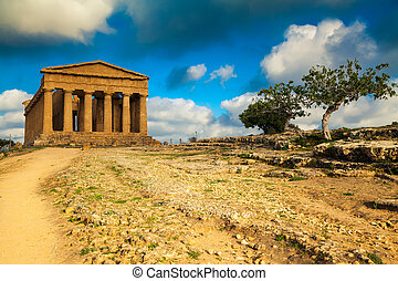 well-preserved Greek ruins of Concordia Temple - very...