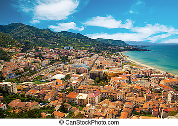 Cefalu residential district near the sea - aerial view of...