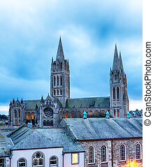 Dusk at Truro Cathedral - Dusk looking over the rooftops to...