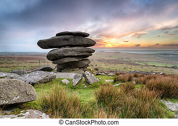 The Cheesewring a Rock Formation on Bodmin Moor - The...