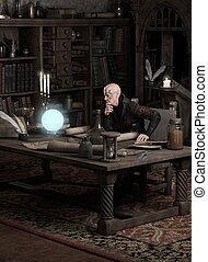Sorcerer Consulting a Magic Orb - Fantasy illustration of a...
