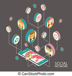Conceptual image with social networks. Flat isometry, vector...
