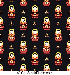 russian doll matreoshka seamless pattern vector flat...