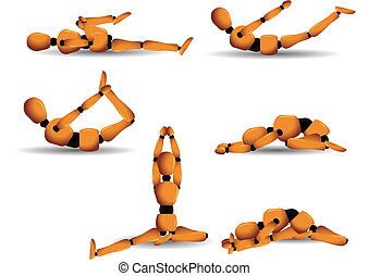 Yoga postures - Vector figurine named Woody showing six...