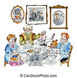 Family dinner table comic illustration