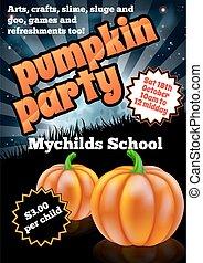 Halloween Pumpkin Party Flier - School childrens Halloween...