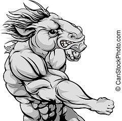 Horse mascot fighting - An illustration of a fierce horse...