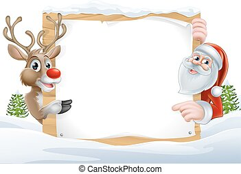 Christmas Santa and Reindeer Sign - Cartoon Reindeer and...