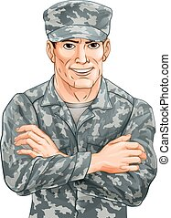 Handsome Soldier - An illustration of a happy smiling...