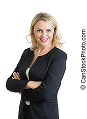 Smiling business woman. Isolated over white background -...
