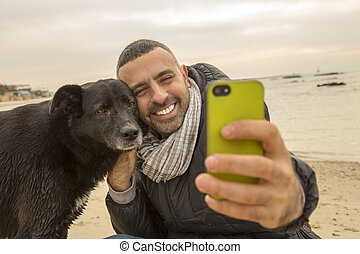 Best friends taking a selfie image for social media - Man...
