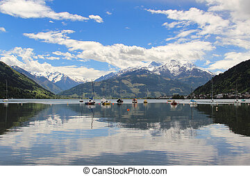 Zell am See - Anchored boats on the lake of Zell am See with...