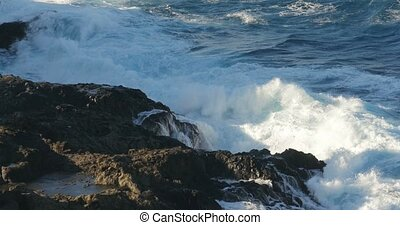 4K, Dramatic water waves splashing - Dramatic wave action,...