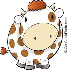 Cute Farm Cow Vector Illustration