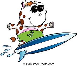 Happy Surfing Cow Vector art