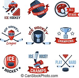 Hockey Emblems Set - Ice hockey sport league champions...