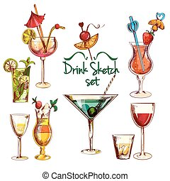 Sketch Cocktail Set - Sketch alcoholic beverages cocktail...