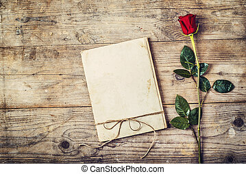 Love journal and a rose - Valentine´s day composition of a...