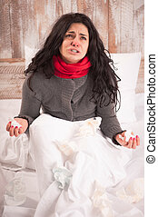 Desperate sick girl with tissues - Sick and hopeless. Young...