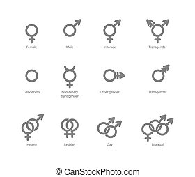 Gender symbol icons - Vector outlines icons of gender...