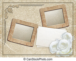 Grunge frame with roses and paper - Old grunge photo frame...