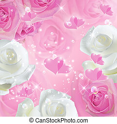 Romantic background with roses - Romantic background with...