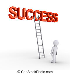 Person about to reach success - 3d SUCCESS word with a...