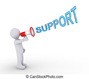 Person giving support through megaphone - 3d person is...