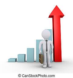 Businessman and graph with arrow