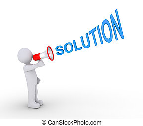 Person giving solution through megaphone - 3d person is...