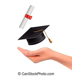 3d hand holding a graduation hat and diploma over white...