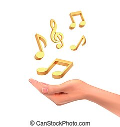 3d hand holding music notes over white background