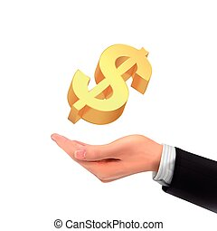 3d hand holding a golden money symbol