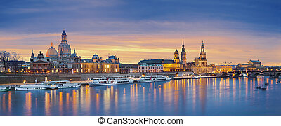 Dresden - Panoramic image of Dresden, Germany during sunset...