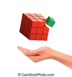 3d hand holding magic cube over white background