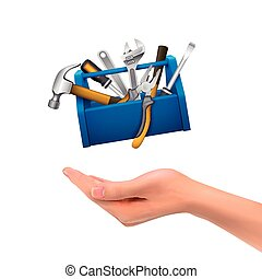 3d hand holding tools box over white background