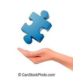 3d hand holding jigsaw puzzle piece