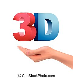 realistic hand holding 3D word