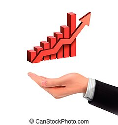 3d hand holding bar graph with rising arrow over white...