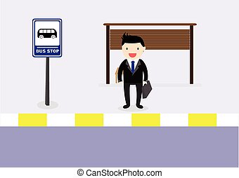 Waiting bus - Business man waiting for the bus go to work.