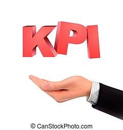 3d hand holding KPI words over white background