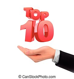 3d hand holding top 10 words over white background