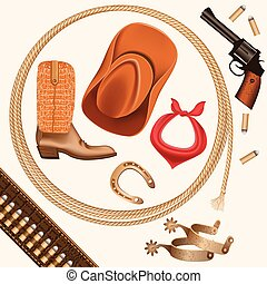 set of wild west cowboy objects isolated on white
