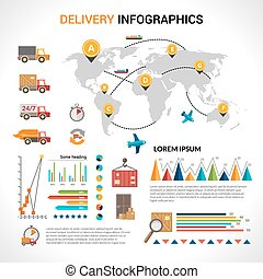 Delivery flat infographics set - Logistic chain shipping...