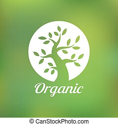 Organic green tree logo, eco emblem, ecology natural symbol,...